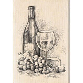 Inkadinkado 'Wine & Cheese' Rubber Stamp