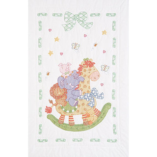 Stamped White 40x60-inch Quilt Crib Top