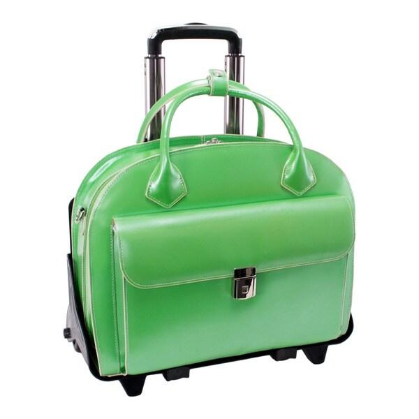 McKlein Green Glenn Ellyn Leather Detachable Wheeled Laptop Case