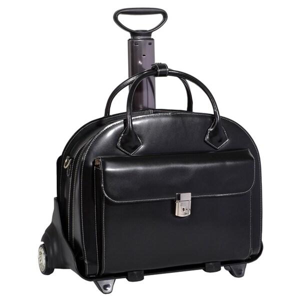 McKlein Black Glen Ellyn Leather Detachable-Wheeled Laptop Case