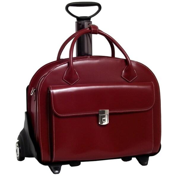 McKlein Red Glen Ellyn Leather Detachable Wheeled Laptop Case