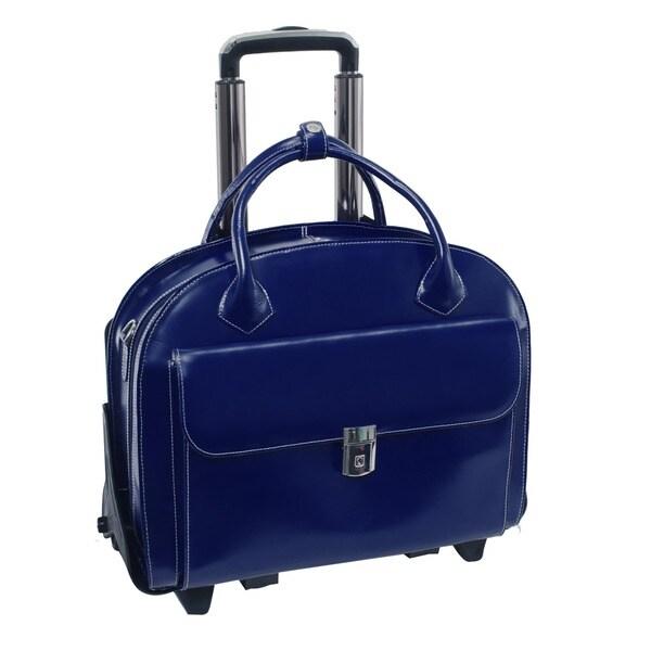 "McKlein Navy Glen Ellyn Leather Detachable-Wheeled Laptop Case - 18""L x 9""W x 14.5""H. Opens flyout."