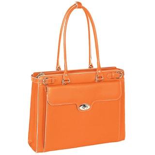 McKlein Women's Orange Winnetka Italian Leather Laptop Briefcase