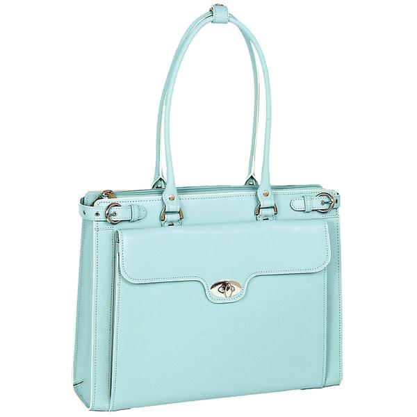 McKlein Women's Blue Winnetka Italian Leather Laptop Briefcase