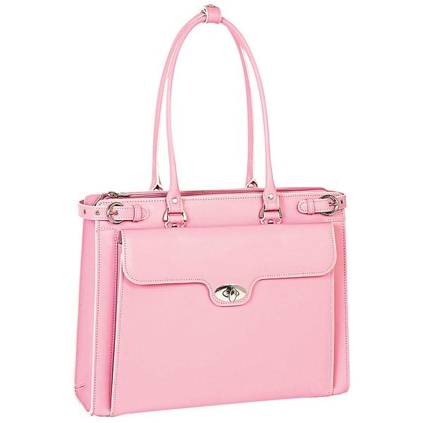 McKlein Women's Pink Winnetka Italian Leather Laptop Briefcase