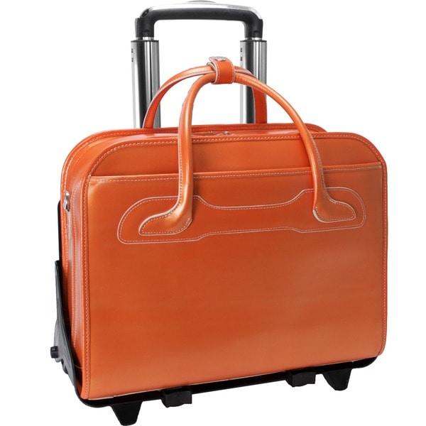 McKlein Orange Willowbrook Detachable-Wheeled Laptop Briefcase