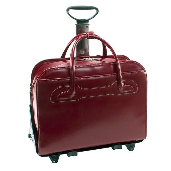 McKlein Red Willowbrook Detachable-Wheeled Laptop Briefcase