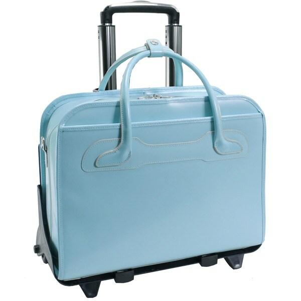 McKlein Blue Willowbrook Detachable-Wheeled Laptop Briefcase