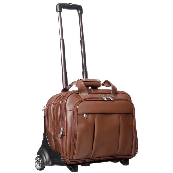McKlein Damen Brown Leather Detachable-Wheeled Laptop Case