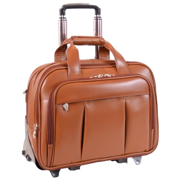 Mcklein Damen Brown Leather Detachable Wheeled Laptop Case