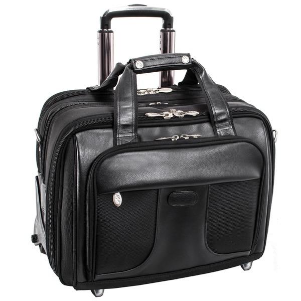McKlein Chicago Black Nylon 17 in. Detachable-Wheeled Laptop Case