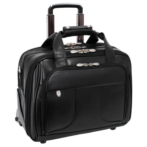 "McKlein Chicago Black Leather 17in. Detachable-Wheeled Laptop Case - 18""L x 9.75""W x 14.5""H"