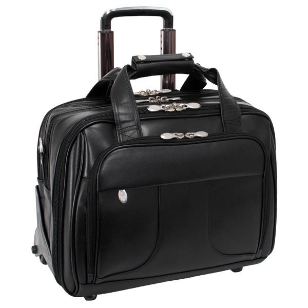 """McKlein Chicago Black Leather 17in. Detachable-Wheeled Laptop Case - 18""""L x 9.75""""W x 14.5""""H. Opens flyout."""