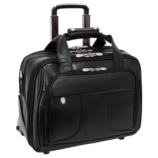 McKlein Chicago Black Leather 17in. Detachable-Wheeled Laptop Case