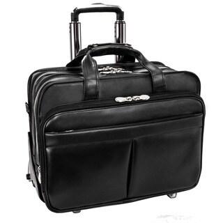 McKlein Roosevelt Black Leather 17-inch Detachable-wheeled Laptop Case