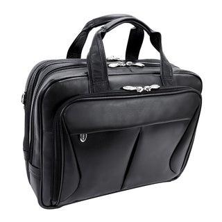 McKlein Black Pearson Expandable Double Compartment Briefcase
