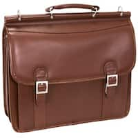 McKlein Halsted Brown Double Compartment 15.4-inch Laptop Briefcase