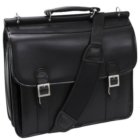 McKleinUSA Black Halsted Double Compartment Leather 15-inch Laptop Briefcase