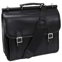 McKlein Black Halsted Double Compartment Leather 15.4-inch Laptop Briefcase