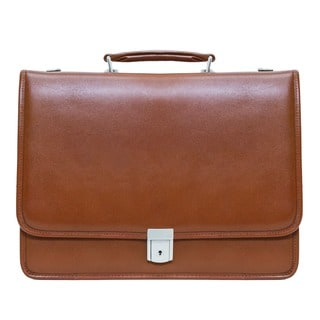 McKlein Brown Lexington Double Compartment Leather 17-inch Laptop Briefcase