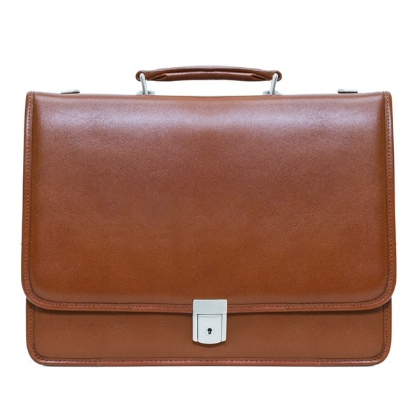 17-inch Leather Solid Soft sided Business Brown Contractor Briefcase