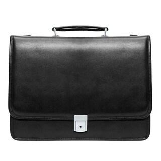McKlein Black Lexington Double Compartment 17-inch Laptop Briefcase