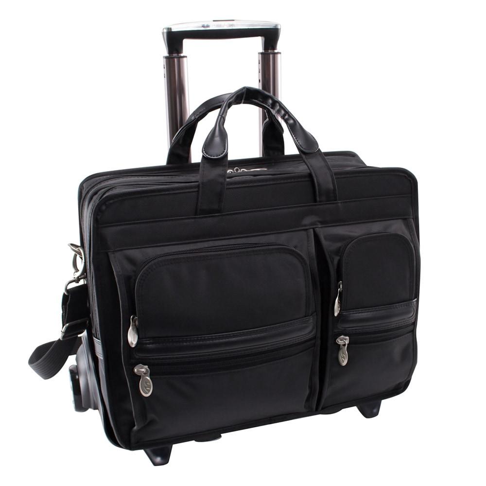 """McKlein Black Clinton 17"""" Laptop Case with Detachable Whe..."""