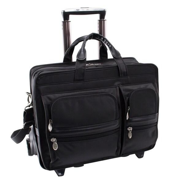 "McKlein Black Clinton 17"" Laptop Case with Detachable Wheels and Handle"