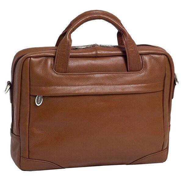 McKlein Brown Bridgeport Large Leather Laptop Briefcase