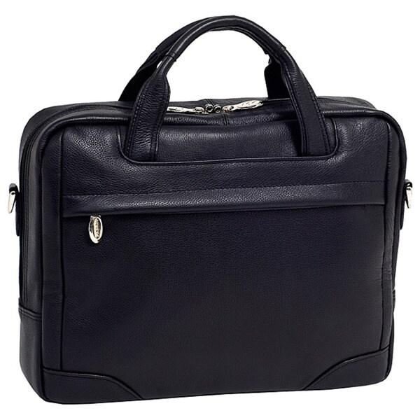 McKlein Black Bronzeville Leather 15.4-inch Laptop Briefcase