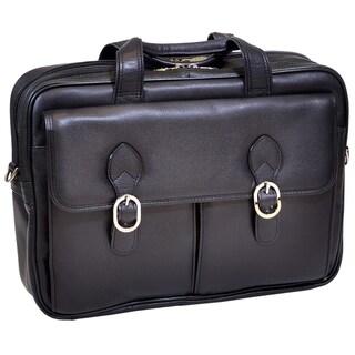 McKlein Kenwood Black Leather Double Compartment Laptop Case