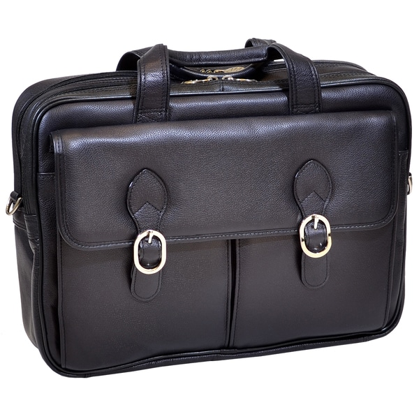 McKlein Kenwood Black Leather Double Compartment Laptop Case