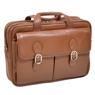McKlein Kenwood Brown Leather Double Compartment Laptop Case