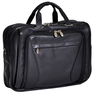 McKlein Irving Park Black Leather Dual Compartment 15.4-inch Laptop Briefcase