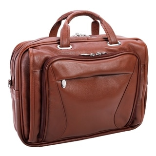 McKlein Irving Park Brown Leather Dual Compartment Laptop Briefcase (Option: Brown)