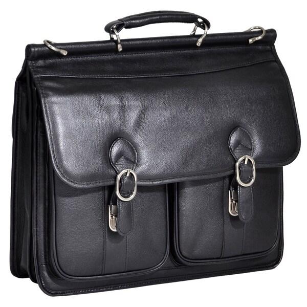 McKleinUSA Hazel Crest Black Leather Dual Compartment Laptop Case