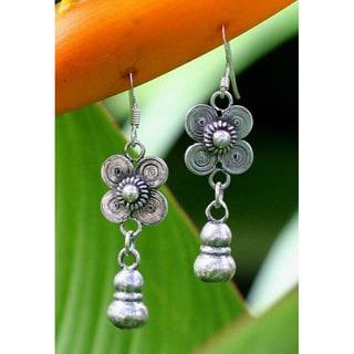Handmade 'Siamese Beauty' Flower Earrings (Thailand)