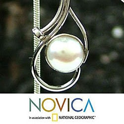 Lunar Magic Oval White Pearls in Rhodium Plated 925 Sterling Silver Pendant Necklace and Earrings Womens Jewelry Set (India) - Thumbnail 2