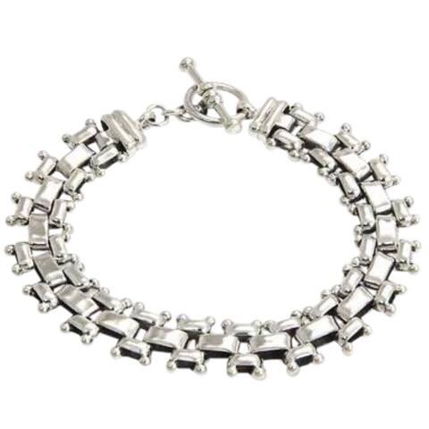 Handmade Dressy Toggle Closure Fluid Flexible Men's Modern Bracelet - Silver