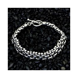 Freedom Everyday or Dressy Toggle Closure Fluid Flexible 925 Sterling Silver Unique Gift Mens Modern Link Bracelet (Indonesia)