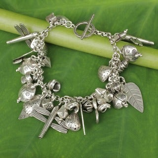 Handmade Sterling Silver Girls of Nature Charm Chain Bracelet (Thailand)