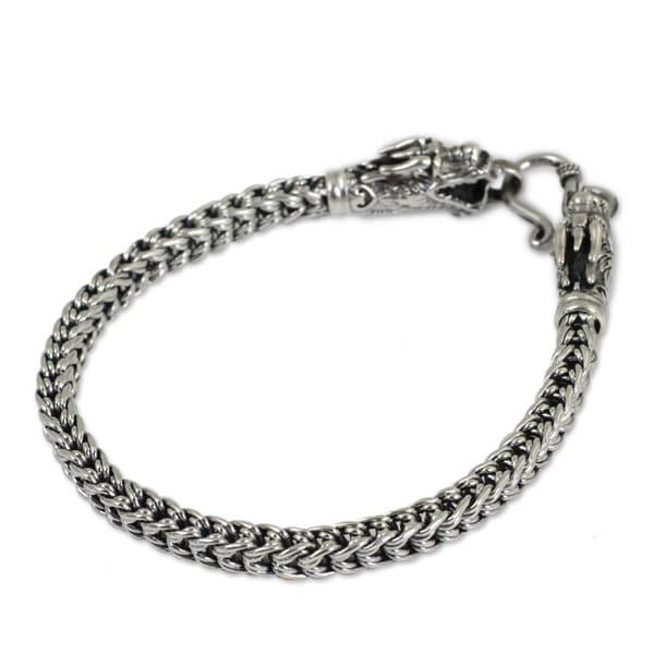 Handmade Dragon 925 Sterling Silver Bracelet (Thailand). Opens flyout.