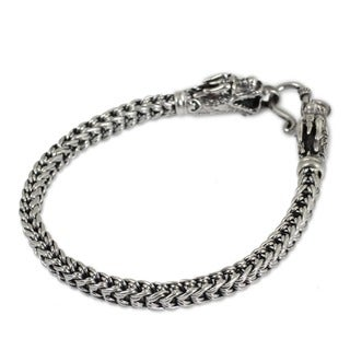 Handmade Flexible Naga Snake Chain with Dragon Fish Hook Closure 925 Sterling Silver Womens Bracelet (Thailand)