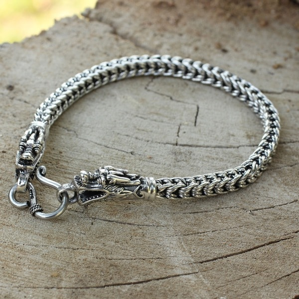 Roaring Protection Fluid Flexible Naga Snake Chain with Dragon Fish Hook Closure 925 Sterling Silver Womens Bracelet (Thailand)