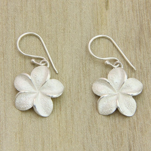 Frangipani Flower Handmade Balinese Vintage Style Women's Clothing Accessory Dangle Sterling Silver Jewelry Earrings (Indonesia)