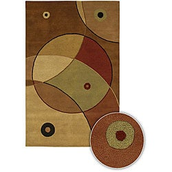 Artist's Loom Hand-tufted Contemporary Geometric Wool Rug - Brown/Mocha - 5' x 7'6 - Thumbnail 0