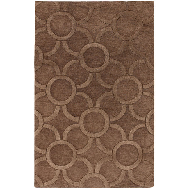 "Hand-Tufted Mandara Contemporary Brown Wool Rug (7'9"" x 10'6"")"