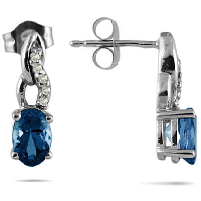Marquee Jewels 10k White Gold Blue Sapphire and Diamond Earrings