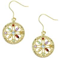 Glitzy Rocks 18k Gold over Sterling Silver Multi-gemstone Earrings