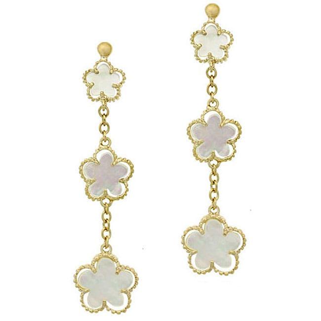 Glitzy Rocks 18k Gold Over Silver Mother Of Pearl Flower Earrings